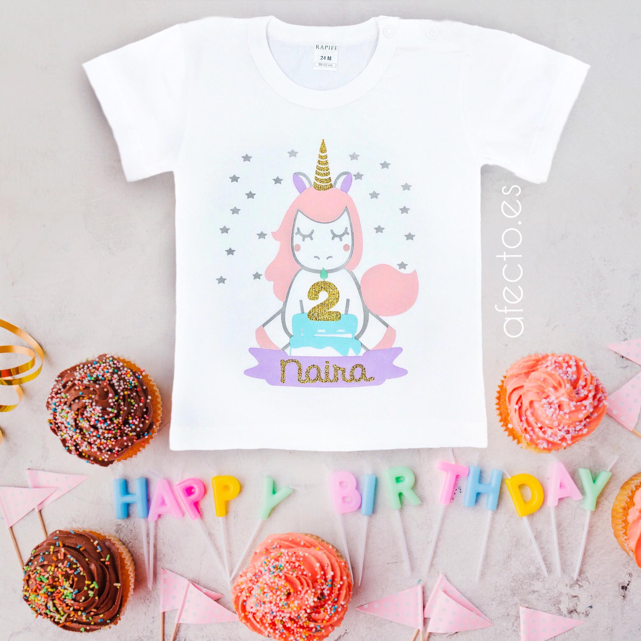 Camiseta Cumpleanos Unicornio Tarta