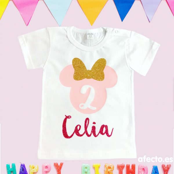 Camiseta cumpleaños Minnie ROSA BEBÉ, PURPURINA DORADA Y ROSA FUCSIA