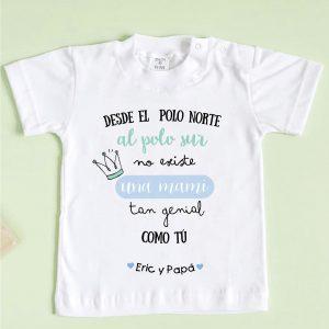 camiseta mami genial, menta y azul