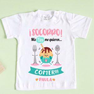 camiseta mis tíos me quieren comer rosa y menta
