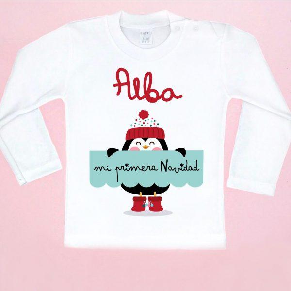 camiseta primera navidad pinguino